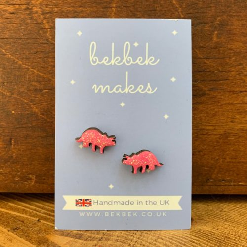Bekbek Makes Pink Triceratops Earrings