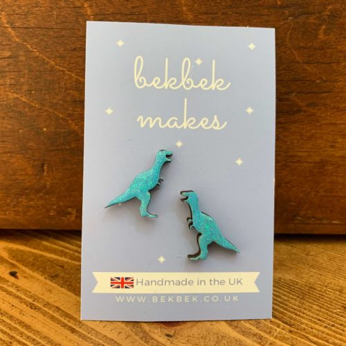 Bekbek Makes Turquoise T-Rex Earrings