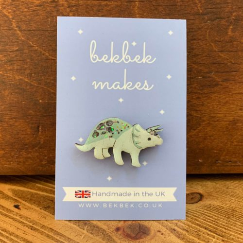 Bekbek Makes Triceratops Pin Badge