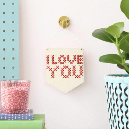 'I Love You' Mini Cross Stitch Embroidery Board Kit