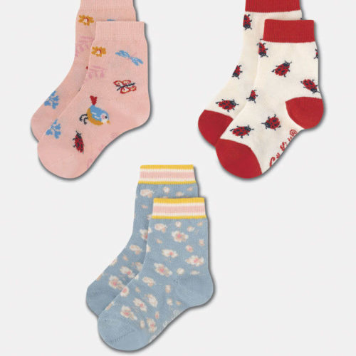 Cath Kidston Kids Socks 3 Pack Washed Ditsy: 7-10yrs