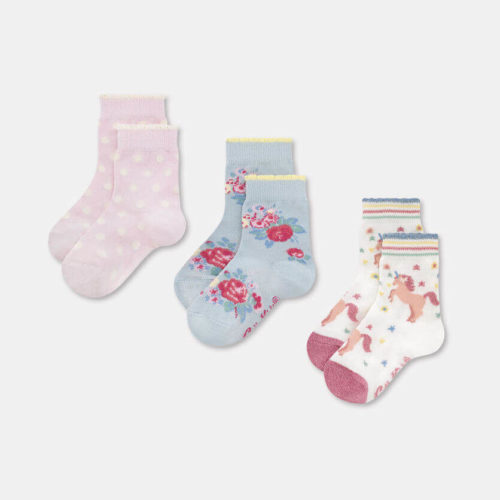 Cath Kidston Kids Socks 3 Pack Unicorn Meadow: 7-10yrs
