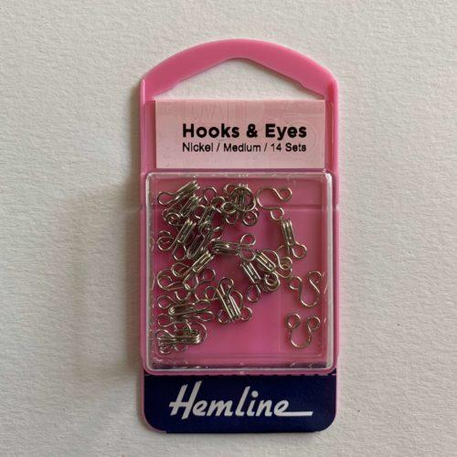 Hooks and Eyes: Nickel: Size 2 Medium