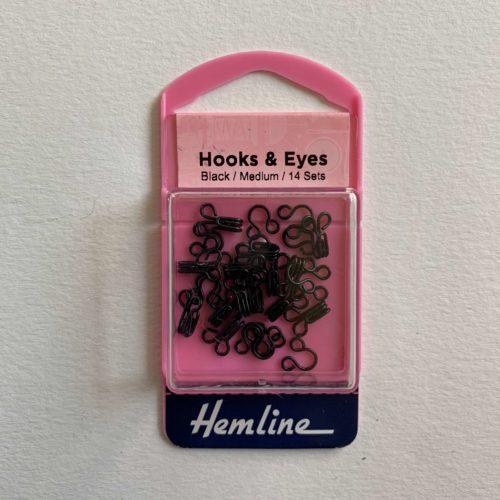 Hooks and Eyes: Black: Size 2 Medium