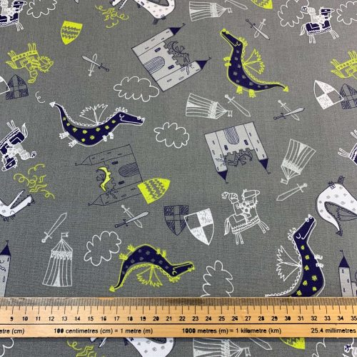 Camelot Knights & Dragons Cotton Fabric - £9 per metre