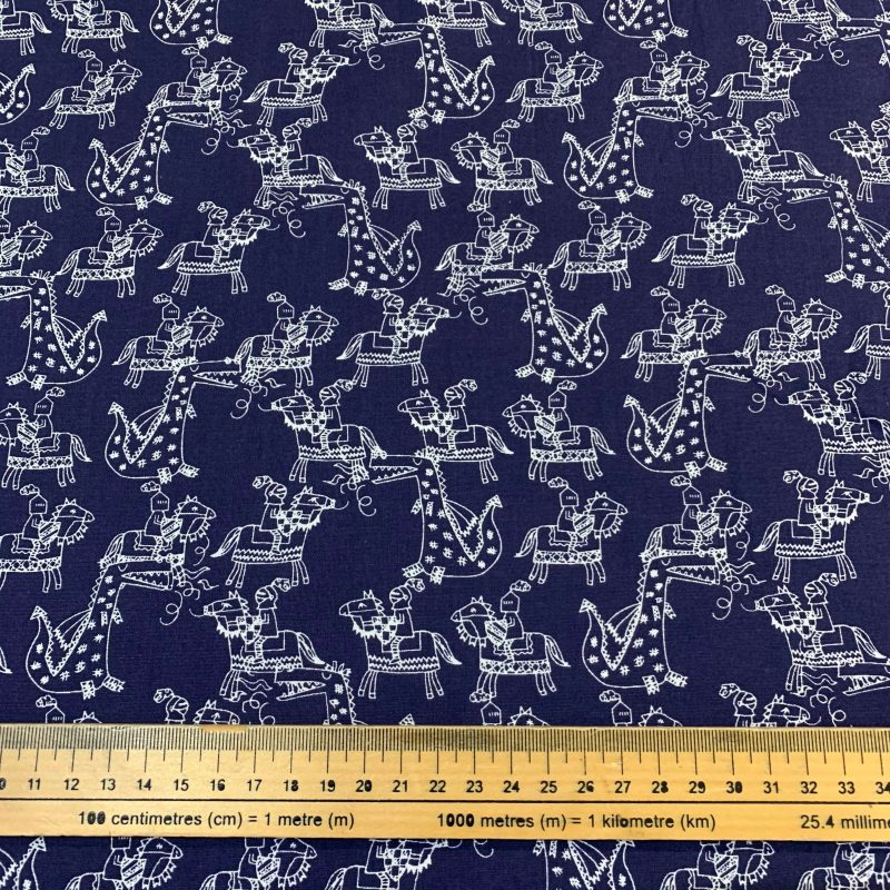 Camelot Knights Navy Cotton Fabric - £9 per metre