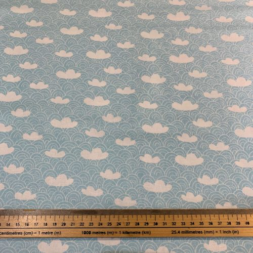 Up Up and Away Blue Clouds Cotton Fabric - £9 per metre