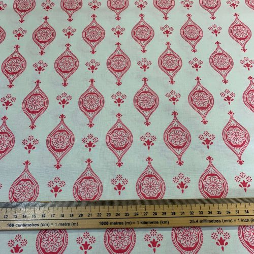 New Delhi by Debbie Shaw: Indian Tiles Pink Cotton Fabric - £9 per metre