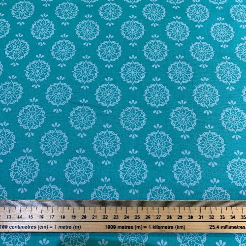 New Delhi by Debbie Shaw: Indian Stamp Jade Cotton Fabric - £9 per metre