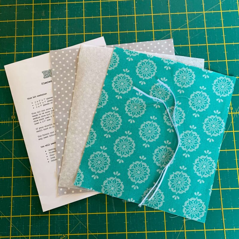 Pleated Face Mask Kit: New Delhi by Debbie Shaw: Indian Stamp Jade