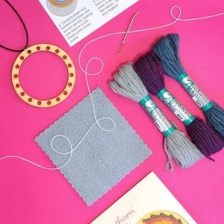 Go Weave Necklace Kit - Mustard, Denim & Grey