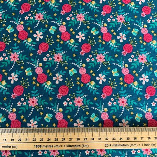 Birthday Floral Navy Flower by Anna Bella Cotton Fabric - Fat Quarter