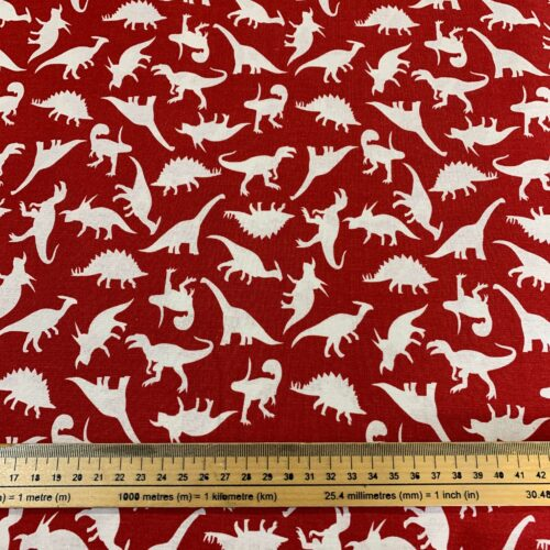 Dinosaur Land Red Cotton Fabric - Fat Quarter