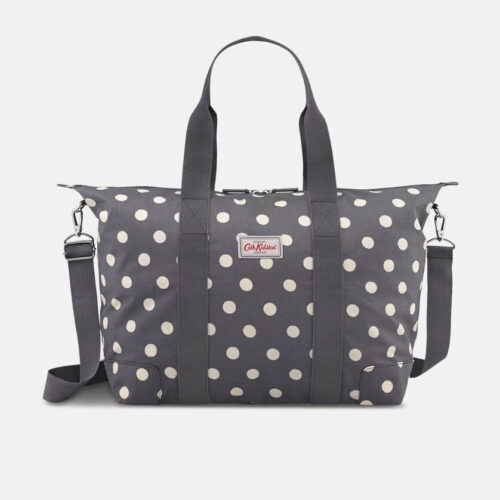 Cath Kidston Button Spot Charcoal Foldaway Overnight Bag