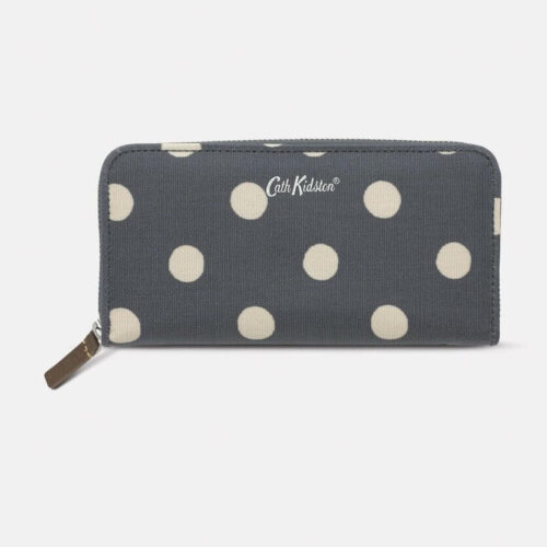 Cath Kidston Button Spot Charcoal Continental Zip Wallet