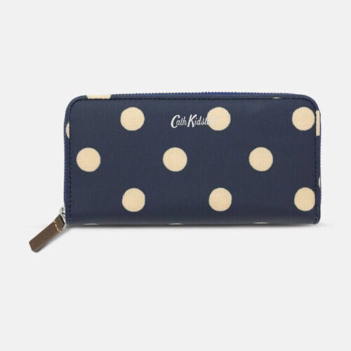 Cath Kidston Button Spot Navy Continental Zip Wallet