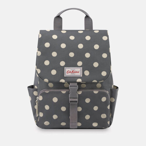Cath Kidston Button Spot Charcoal Buckle Backpack