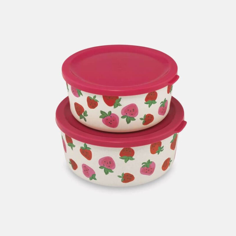 Cath Kidston Sweet Strawberries Set of Two Round Bamboo Lunch Boxes