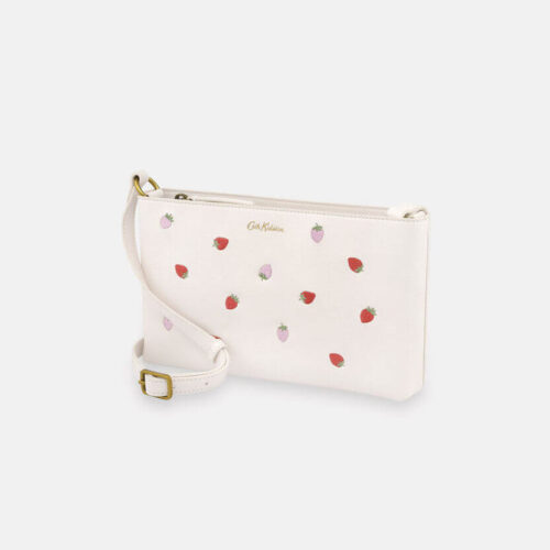 Cath Kidston Sweet Strawberry Ecru Small Zipped Cross Body Bag