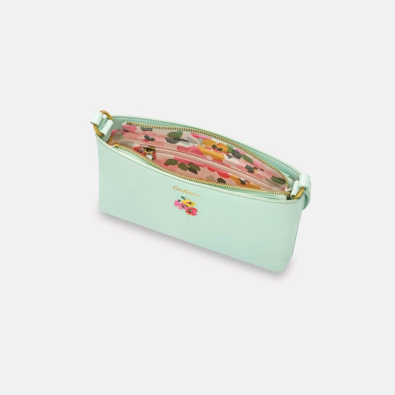 Cath Kidston Painted Pansies Mint Small Zipped Cross Body Bag