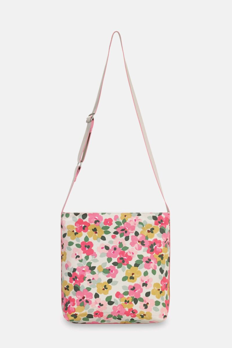 Cath Kidston Painted Pansies Zipped Messenger Bag