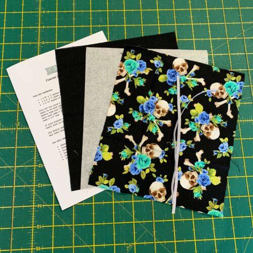 Pleated Face Mask Kit: Flower & Skull Blue