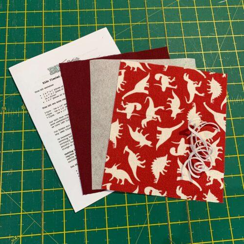 Children's Pleated Face Covering Kit: Red Dinosaur