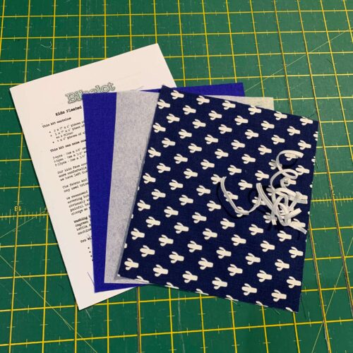 Children's Pleated Face Covering Kit: Riley Blake: Azure Skies Cactus Navy