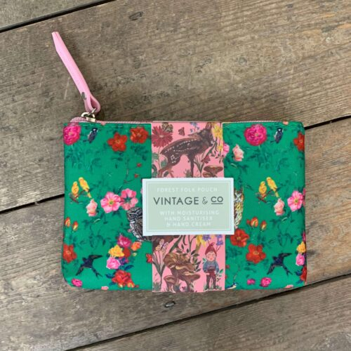 Forest Folk Cosmetic Pouch with 30ml Hand Cream, 20ml Hand Sanitiser