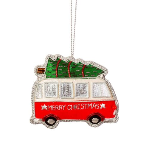 Camper Van Zari Embroidery Christmas Decoration