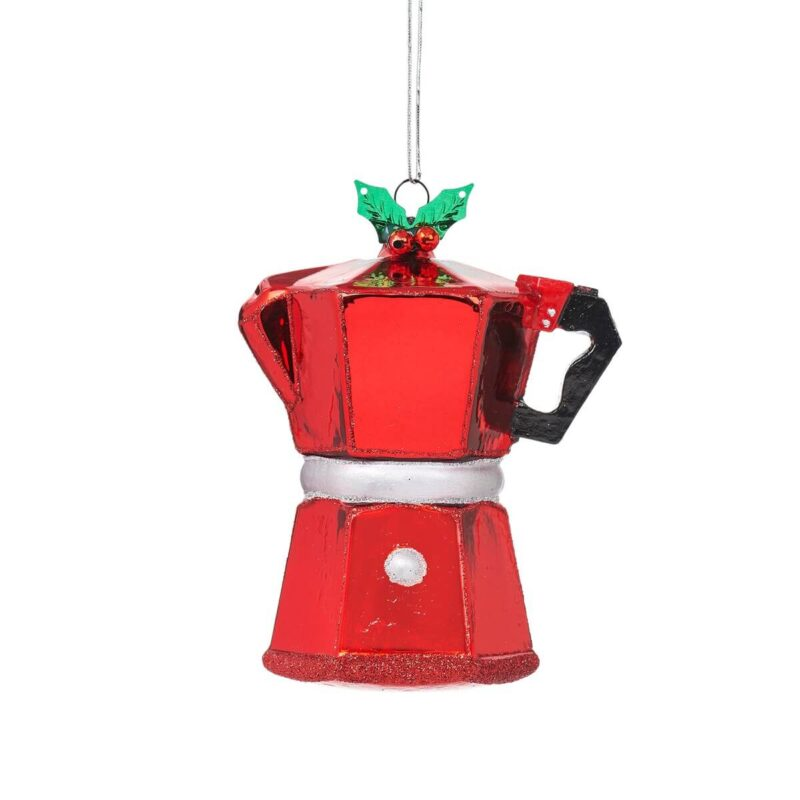 Coffee Pot Shaped Bauble Christmas Decoration