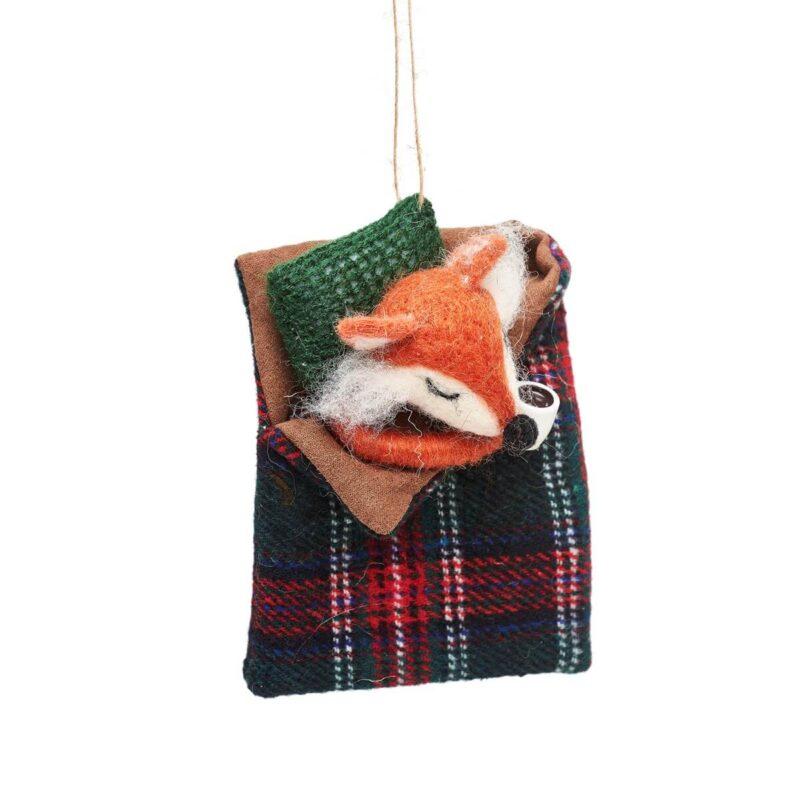 Fox in Sleeping Bag Felt Christmas Decoration
