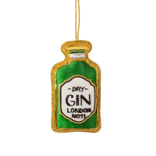Gin Bottle Zari Embroidery Christmas Decoration