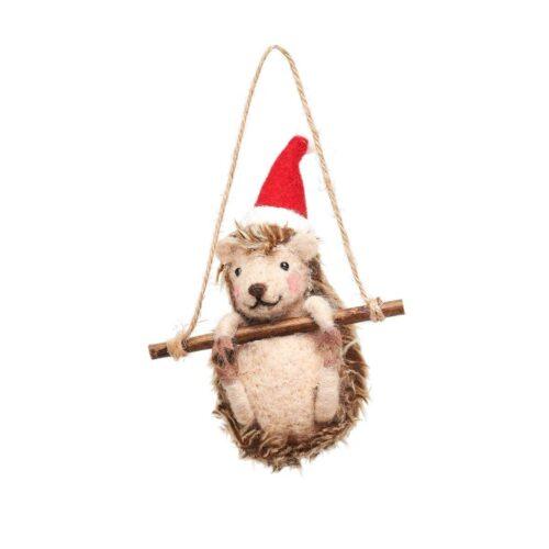 Hedgehog on Swing Felt Christmas Decoration