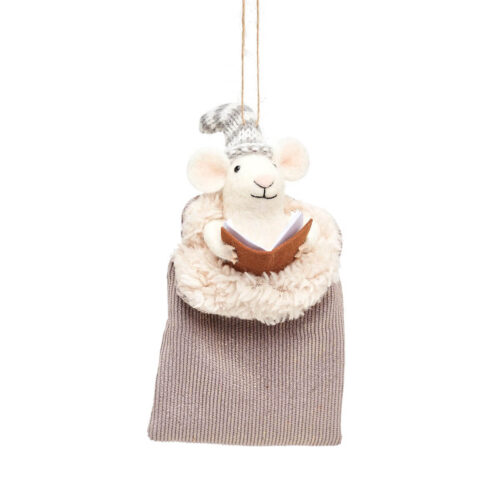 Mouse In Grey Sleeping Bag Felt Christmas Decoration