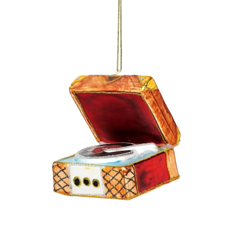 Retro Record Player Shaped Bauble