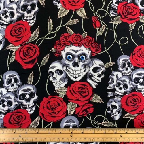 Rose & Hubble Skull and Red Rose Cotton Poplin Fabric - Fat Quarter