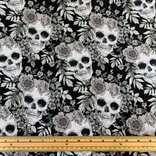 Rose & Hubble Skull and Grey Rose Cotton Poplin Fabric - Fat Quarter