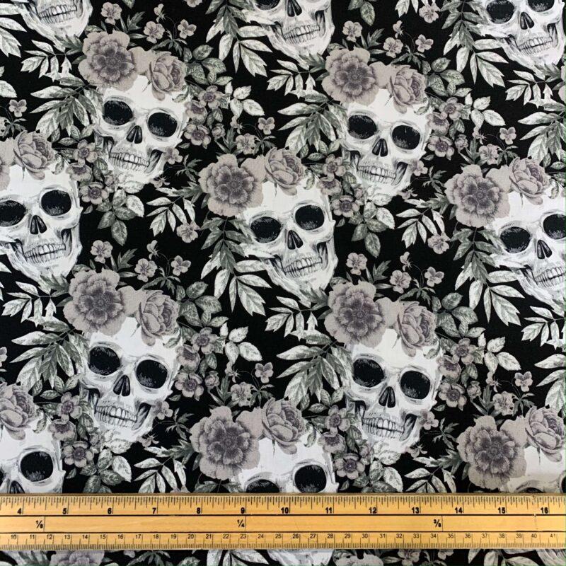 Rose & Hubble Skull and Grey Rose Cotton Poplin Fabric - Fat Quarter