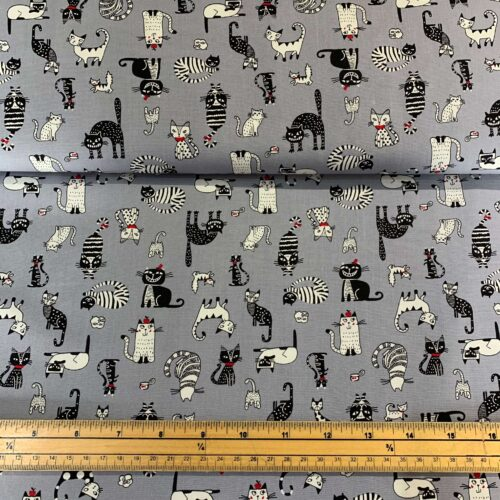 Rose & Hubble Cats on Grey Cotton Poplin Fabric - Fat Quarter