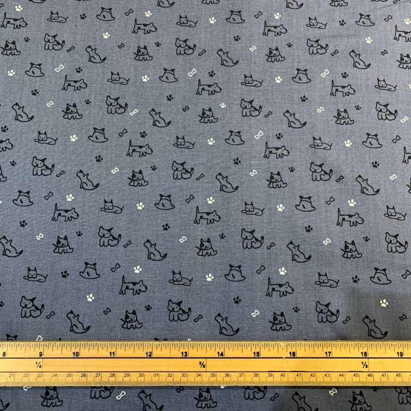 Rose & Hubble Dogs on Grey Cotton Poplin Fabric - Fat Quarter