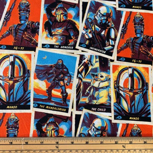 Star Wars Mandalorian Trading Cards Cotton Fabric - Fat Quarter