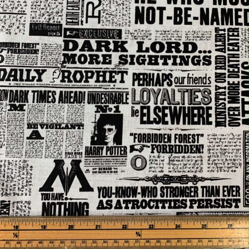 Harry Potter Newsprint Cotton Fabric - Fat Quarter