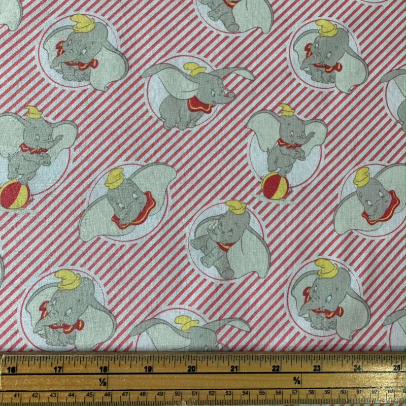 Dumbo Stripes Coral Cotton Fabric - Fat Quarter