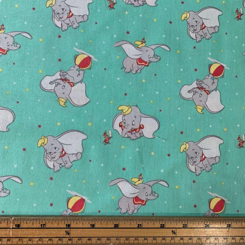 Disney Dumbo Tossed Turquoise Cotton Fabric - Fat Quarter