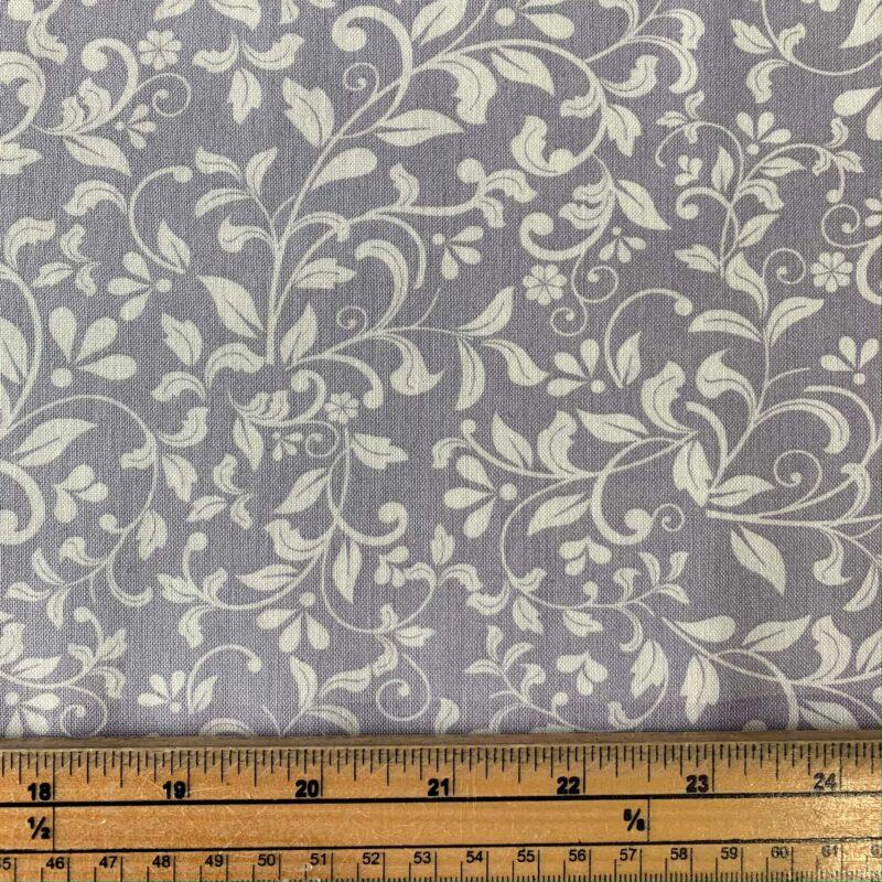 Floral Leaf Silver Cotton Fabric - Fat Quarter