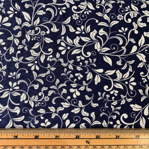 Floral Leaf Navy Cotton Fabric - Fat Quarter