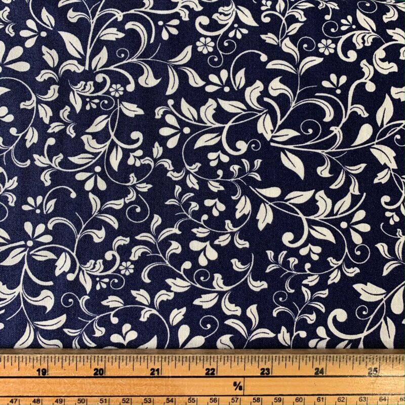 Floral Leaf Navy Cotton Fabric - Fat Quarter