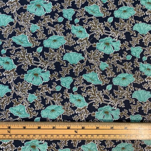 Liberty Fabrics - Winterbourne House: Beatrice Poppy: Turquoise - Fat Quarter