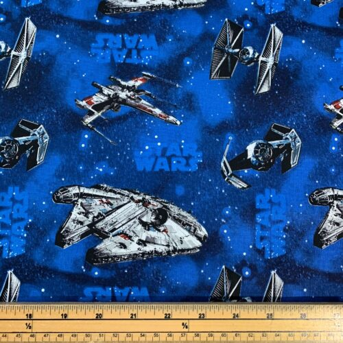 Star Wars Space Ships Blue Cotton Fabric - Fat Quarter